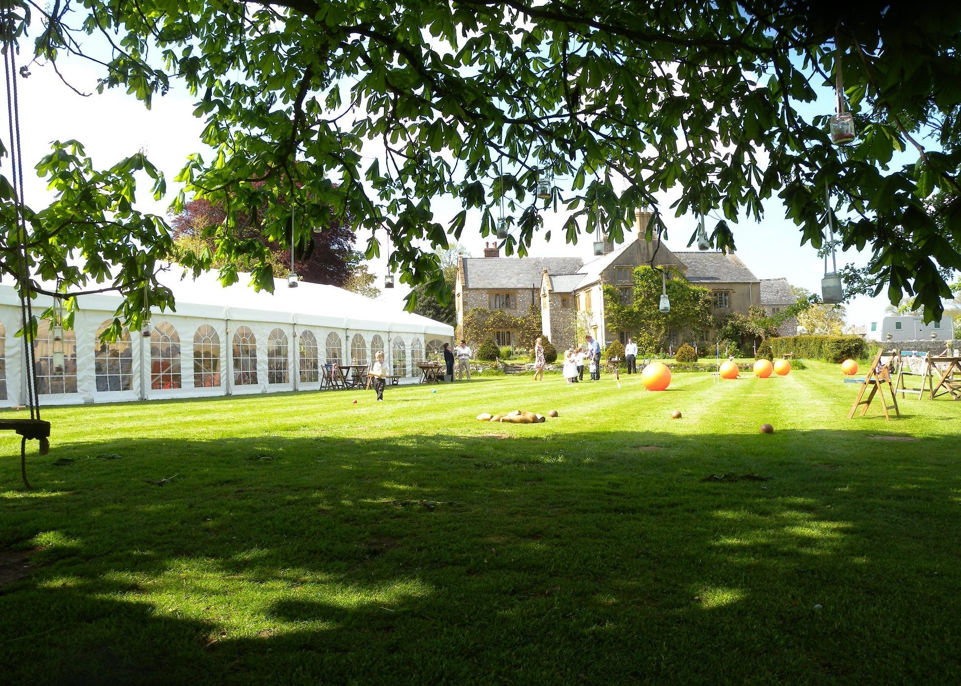 Exterior view of wedding Marquee at Sheafhayne Manor in East Devon