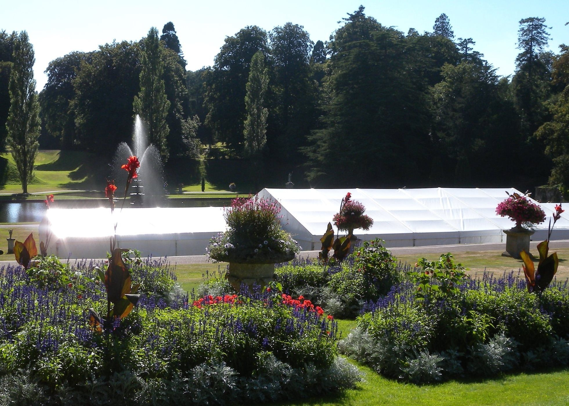 Exterior view of Wedding Marquees in the Italian garden at Bicton Botanical Gardens, Devon